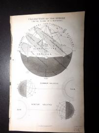 Goldsmith C1860 Antique Print. Projection of the Sphere. Astronomy